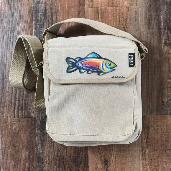 feff8ce01bb3 Ipad Bag in Canvas Messenger Style with Trout